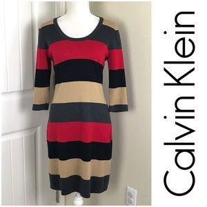 Calvin Klein Striped Sweater Dress Sz M Horizontal